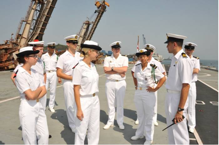 French Naval Officers Onboard INS Virat