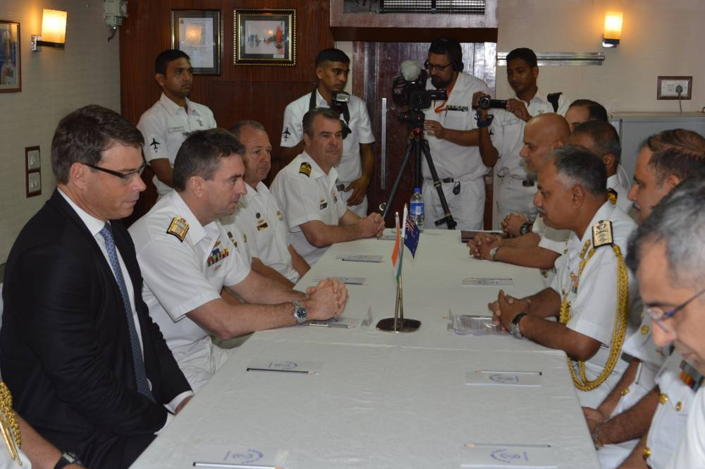Rear Admiral Jonathan Mead, Head Navy Capability Royal Australian Navy (RAN) and Rear Admiral AB Singh, Flag Officer Commanding Eastern Fleet inaugurating the first edition of Bilateral Maritime Exercise, AUSINDEX-15 onboard INS Shivilak at Vizag