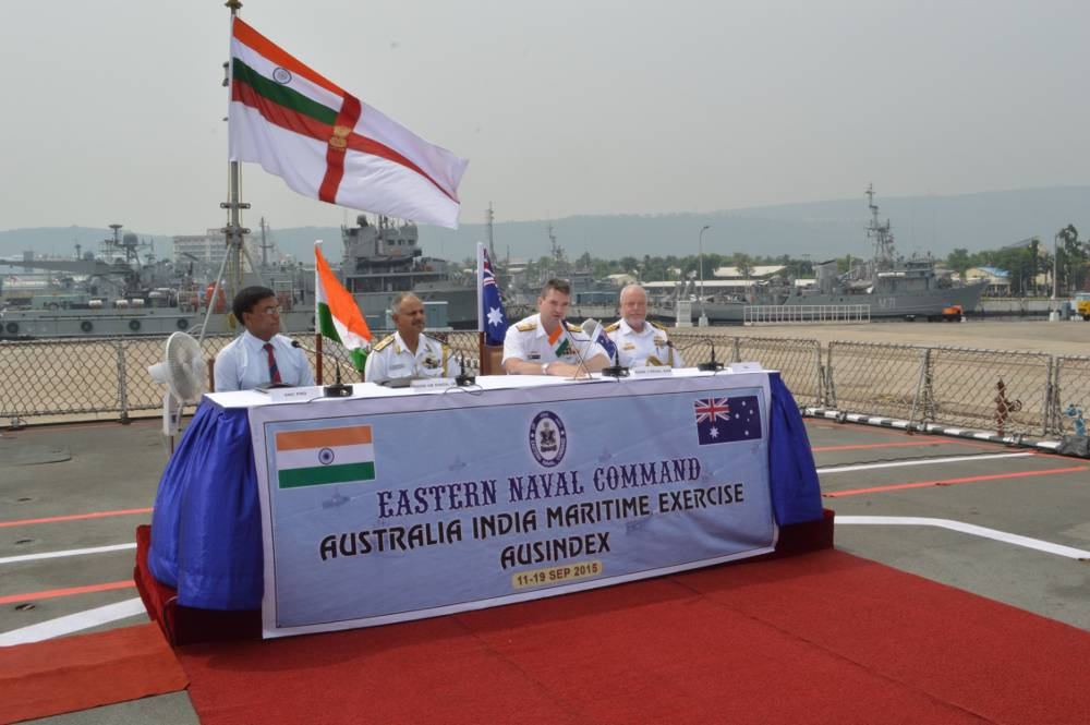 Joint Press Conference by Rear Admiral Jonathan Mead, Head Navy Capability Royal Australian Navy (RAN) and Rear Admiral AB Singh, Flag Officer Commanding Eastern Fleet during AUSINDEX-15