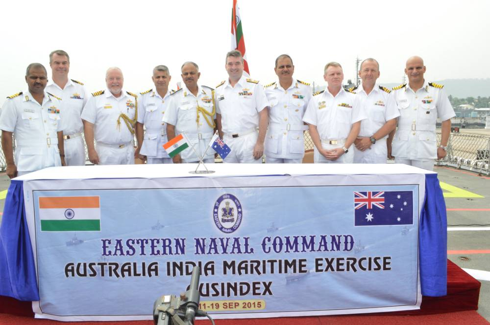 Rear Admiral Jonathan Mead, Head Navy Capability Royal Australian Navy (RAN) and Rear Admiral AB Singh, Flag Officer Commanding Eastern Fleet along with Commanding Officers participating ships and submarine of HMAS Sirius, HMAS Arunta, HMAS Sheean, INS Shivalik, INS Ranvijay and INS Shakti during AUSINDEX-15