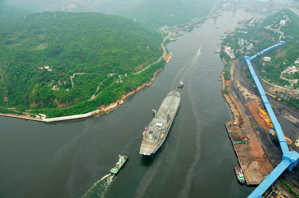 HMAS Sirius entering Vizag Harbour