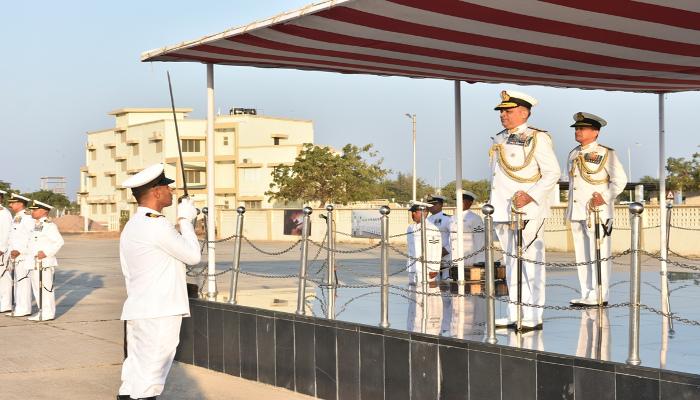 Rear Admiral Puruvir Das, NM Assumes Charge as the Flag Officer Commanding Gujarat Naval Area