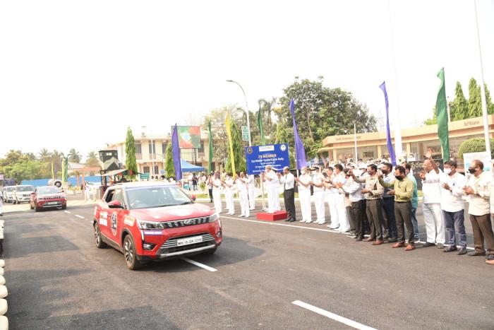 Car, Bike and Cycle Rallies Flagged-off to Mark 'Azadi Ka Amrut Mahotsav' and Golden Jubilee of Naval Dockyard Visakhapatnam