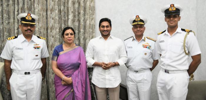Vice Admiral Atul Kumar Jain, FOC-in-C ENC called on Sri Biswabhusan Harichandan Hon'ble Governor of Andhra Pradesh & Sri YS Jagan Mohan Reddy, Hon'ble Chief Minister of AP