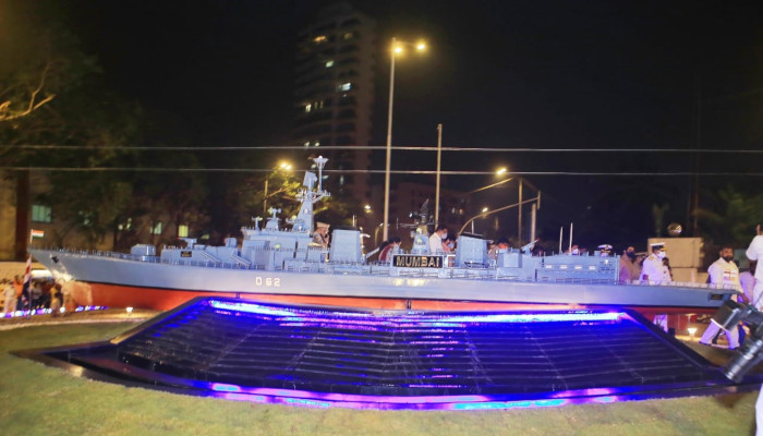 Model Of Indian Navy's Destroyer INS Mumbai Dedicated to the City