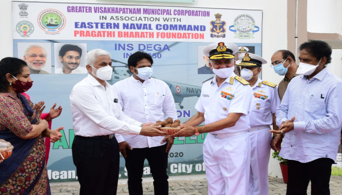 Indian Navy Helicopters Undertakes Aerial Seeding FT Visakhapatnam for GVMC